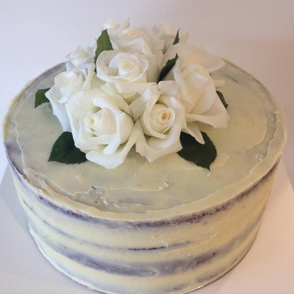 White ganache 21st semi-naked birthday cake.
