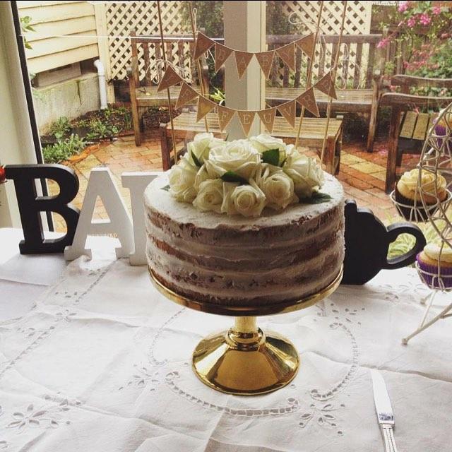 Buttercream naked cake for a baby shower